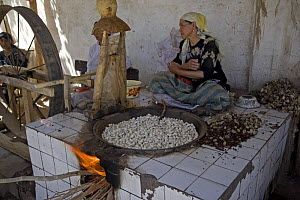 Women extracting raw silk fibres from silk-moth cocoons by boiling them, a traditional method for silk-making. Hotan City on the old Silk Road south of the Taklamakan Desert, Xinjiang Province, north-...  -  George Chan