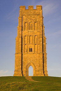 Remains of St Michaels Church at the summit of Glastonbury Tor at dawn, Glastonbury, Somerset, UK  -  Peter Lewis