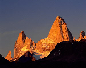 The towering jagged summits of Poincenot and Mount Fitz Roy (Chalten) lit up by the sunrise in Glaciers National Park, Argentina  -  Jack Dykinga