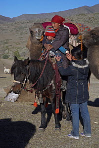 Nomadic Kazakh family moving from summer to winter pastures in the Altai Shan Mountains, near the Mongolian border in Xinjiang Province, North-west China. September 2006  -  George Chan