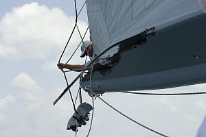 """Boom damage on """"Sojana"""" after the collision with """"Lolita"""" during Antigua Race Week 2008. Day 2, halfway round the Island Race, Dickenson Bay to Falmouth anti clockwise.  -  Rick Tomlinson"""