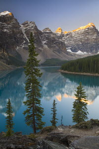 Moraine Lake, coloured blue by glacial rock flour. Banff National Park, Alberta, Canada - Adam Burton