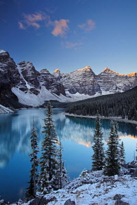 Winter at Moraine Lake, coloured blue by glacial rock flour. Banff National Park, Alberta, Canada - Adam Burton