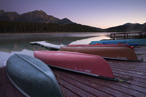Canoes on Patricia Lake, Jasper National Park, Alberta, Canada - Adam Burton