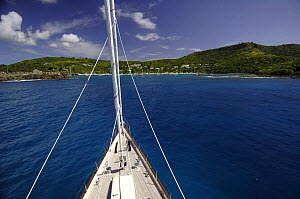 """SY """"Adele"""", 180 foot Hoek Design, approaching English Harbour, Antigua, January 2006. Non editorial uses must be cleared individually.  -  Rick Tomlinson"""