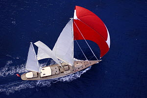 "Aerial view of SY ""Adele"", 180 foot Hoek Design, underway just off the Antigua coast, January 2006. Non editorial uses must be cleared individually.  -  Rick Tomlinson"