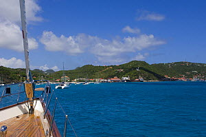 """SY """"Adele"""", 180 foot Hoek Design, approaching Saint Kitts, Caribbean. 2006.  Non editorial uses must be cleared individually.  -  Rick Tomlinson"""
