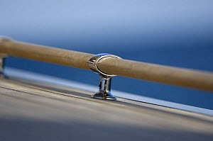 """Close up of a deck rail onboard SY """"Adele"""", using a shallow depth of field setting, 2006.  -  Rick Tomlinson"""