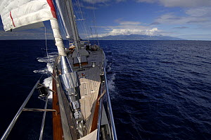 """Dramatic photo taken from the bow of SY """"Adele"""", 180 foot Hoek Design, sailing in French Polynesia, 2006.  Non editorial uses must be cleared individually.  -  Rick Tomlinson"""