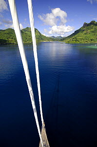 """SY """"Adele"""", 180 foot Hoek Design, approaching a volcanic island in French Polynesia Non editorial uses must be cleared individually.  -  Rick Tomlinson"""