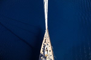 Aerial view of SY ^Adele^, 180 foot Hoek Design, sailing in French Polynesia, 2006.  Non editorial uses must be cleared individually.  -  Rick Tomlinson