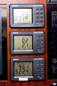 "Water, air and sea temperatures onboard SY ""Adele"", 180 foot Hoek Design, during her expedition around the Antarctic Penninsula, January 2007.  -  Rick Tomlinson"