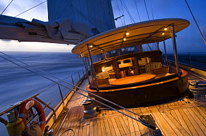 """SY """"Adele"""", 180 foot Hoek Design, evening sailing off the coast of Brazil, February 2007  Non editorial uses must be cleared individually.  -  Rick Tomlinson"""