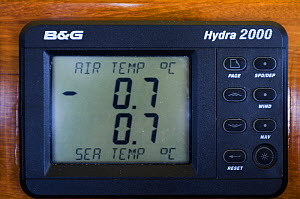"SY ""Adele""'s digital air and sea temperature guage showing below freezing whilst exploring the Antarctic Peninsula, January 2007.  -  Rick Tomlinson"