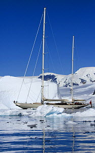 SY ^Adele^, 180 foot Hoek Design, motoring through the brash ice in Wilhelmina Bay, Antarctica, January 2007 Non editorial uses must be cleared individually.  -  Rick Tomlinson
