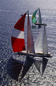 """SY """"Adele"""" (front), 180 foot Hoek Design, at the Superyacht Cup Palma, October 2005 Non editorial uses must be cleared individually.  -  Rick Tomlinson"""