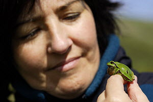 Woman looking at Common tree frog (Hyla arborea) on her hand with vocal sac inflated, Spain  -  Jose Luis GOMEZ de FRANCISCO