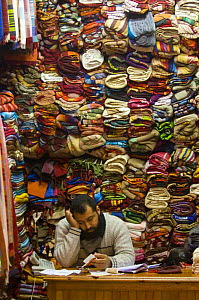 La Medina, traditional market seller in old Marrakech, Morocco, North Africa  -  Inaki Relanzon