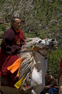 Monk riding horse at festival, Holy hill near Dargye, Sichuan Province, China, Tibet. Part of the Biodiversity hotspot �Southeast China mountains� - Dr. Axel Gebauer