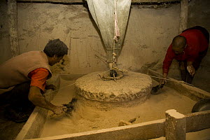 Two men grinding  barley with traditional mill stone at watermill, Dargye, Sichuan Province, Tibet, China - Dr. Axel Gebauer