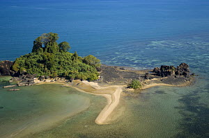 Aerial view of coast with rocky promontary at Nosy Be, North Madagascar. - Inaki Relanzon
