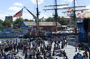 Crowds in the amphitheatre at the Bristol Harbour Festival with sailing ship Kaskelot in the background. August 2008  -  Rob Cousins