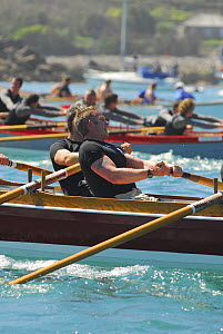 "Flushing and Mylor men's crew racing ""Penarrow"" at the 19th World Pilot Gig Championships, Isles of Scilly, May 2008 - Adam White"