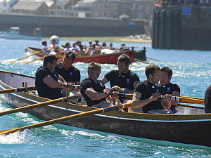 "Flushing and Mylor men's crew nearing the finish line in ""Penarrow"" at the 19th World Pilot Gig Championships, Isles of Scilly, May 2008 - Adam White"