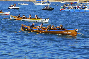 "Tresco and Bryher's ladies crew nearing the finish line in ""Emma Louise"" at the 19th World Pilot Gig Championships, Isles of Scilly, May 2008 - Adam White"