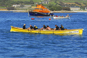 "Cornwall Rowing Association for the Blind gig crew crossing the finish line in their gig ""Dall Lewyer"" at the 19th World Pilot Gig Championships, Isles of Scilly, May 2008 - Adam White"