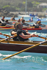 "Flushing and Mylor men's crew in ""Penarrow"" racing at the 19th World Pilot Gig Championships, Isles of Scilly, May 2008 - Adam White"