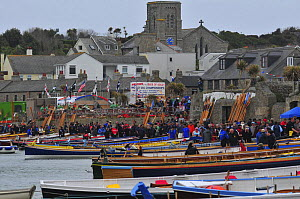 Gigs pulled up on Town Beach, St. Mary's, at the 19th World Pilot Gig Championships, Isles of Scilly, May 2008 - Adam White