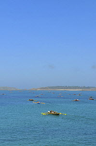 Gigs rowing out towards start line at the 19th World Pilot Gig Championships, Isles of Scilly, May 2008 - Adam White