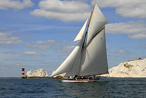 """Mariquita"" sailing past the Needles Lighthouse during Round the Island Race, The British Classic Yacht Club Regatta, Cowes Classic Week, July 2008  -  Rick Tomlinson"