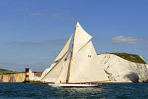 """Tuiga"" sailing past the Needles Lighthouse during Round the Island Race, The British Classic Yacht Club Regatta, Cowes Classic Week, July 2008  -  Rick Tomlinson"
