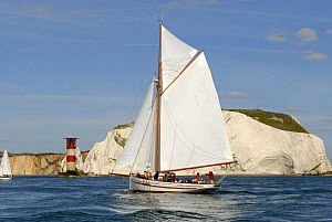 "Pilot Cutter ""Polly Agatha"" sailing past the Needles Lighthouse during Round the Island Race, The British Classic Yacht Club Regatta, Cowes Classic Week, July 2008  -  Rick Tomlinson"