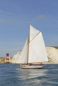 Pilot Cutter ^Polly Agatha^ sailing past the Needles Lighthouse during Round the Island Race, The British Classic Yacht Club Regatta, Cowes Classic Week, July 2008  -  Rick Tomlinson
