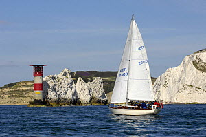"""Caressa"" sailing past the Needles Lighthouse during Round the Island Race, The British Classic Yacht Club Regatta, Cowes Classic Week, July 2008  -  Rick Tomlinson"