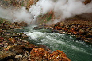 Water flowing over rapids in the Geyser River, Kronotsky Zapovednik, Kamchatka, Far East Russia - Igor Shpilenok