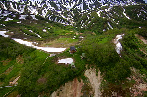 Aerial view of the Ranger stations before the landslide of June 3, 2007, which changed the face of the Valley of the Geysers, Kronotsky Zapovednik, Kamchatka, Far East Russia  -  Igor Shpilenok