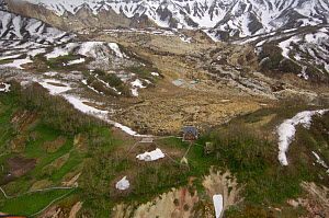 Aerial view of the Ranger stations after the landslide of June 3, 2007, which changed the face of the Valley of the Geysers, Kronotsky Zapovednik, Kamchatka, Far East Russia~During the landslide of Ju...  -  Igor Shpilenok