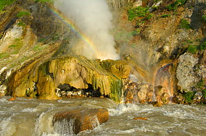 Rainbow above the Malachite Grotto, Valley of the Geysers, Kronotsky Zapovednik, Kamchatka, Far East Russia, June 2006 (one year before the landslide which caused this cave to be flooded and disappear...  -  Igor Shpilenok