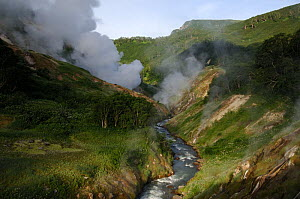 The Geyser River and its geysers, Valley of the Geysers, Kronotsky Zapovednik, Kamchatka, Far East Russia, June 2005 (two years before a landslide changed the face of the valley forever)  -  Igor Shpilenok