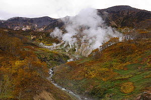 Autumn on the Geyser River, Valley of the Geysers, Kronotsky Zapovednik, Kamchatka, Far East Russia October 2005, (nearly two years before a landslide on June 3, 2007 changed the face of the valley)  -  Igor Shpilenok