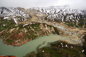 Aerial view of the landslide of June 3, 2007, which blocked part of Kamchatka's Valley of the Geysers, damning the Geyser River and creating a lake. This picture was taken on June 15, six days after t...  -  Igor Shpilenok