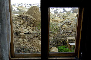 View from the Visitor center after the landslide of June 3, 2007, in the Valley of the Geysers which stopped just short of the building, Kronotsky Zapovednik, Kamchatka, Far East Russia  -  Igor Shpilenok