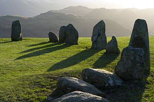 Castlerigg stone circle in the Lake District, Cumbria, UK, winter, late afternoon with long shadows,  -  Jason Smalley