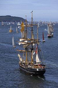 """Three masted barque """"Kaskelot"""", The Grand Parade at Douarnenez Maritime Festival, France, July 2008  -  Benoit Stichelbaut"""