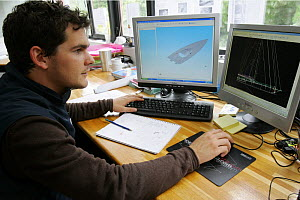 Project manager working on the construction of Armel le Cleac'h's monohull 60ft ^Britair^ yacht. Vannes, France, June 2007  -  Benoit Stichelbaut