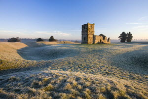 Ruins of Knowlton Church on frosty winters morning, Dorset, England - Adam Burton